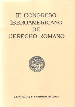 Portada de III Congreso Iberoamericano de Derecho Romano