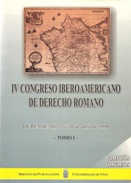 Portada de IV Congreso Iberoamericano de Derecho Romano. Tomo I