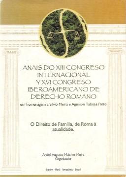 Portada de Anais do XIII Congreso Internacional y XVI Congreso Iberoamericano de Derecho Romano. O Direito de Familia, de Roma à atualidade
